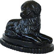 Antique Pressed Glass Newfoundland Dog Paperweight