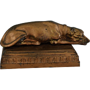 Antique French Advertisement Cast Iron Paperweight L. Tillet ~ Greyhound Dog