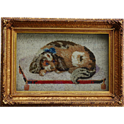 Victorian Needlework Stumpwork ~ King Charles Cavalier Spaniel Dog