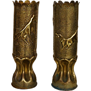 Pair of WW1 Trench Art Artillery Shells ~ Wolf With Lamb / Dog And Cat