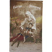WW1 French Postcard ~ Red Cross Dog C1905
