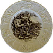 Antique Staffordshire Child's Plate ~ Boy & His Dog