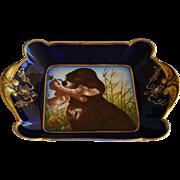 C1882 Antique Haviland Limoges Plate ~ Hunting Dog