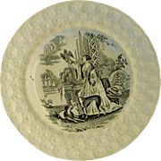 Victorian Staffordshire Child's Plate ~ Lady With Greyhound Dogs & Falcon