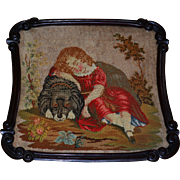 Victorian Beadwork & Needlework Of A Sleeping Child With Faithful Dog