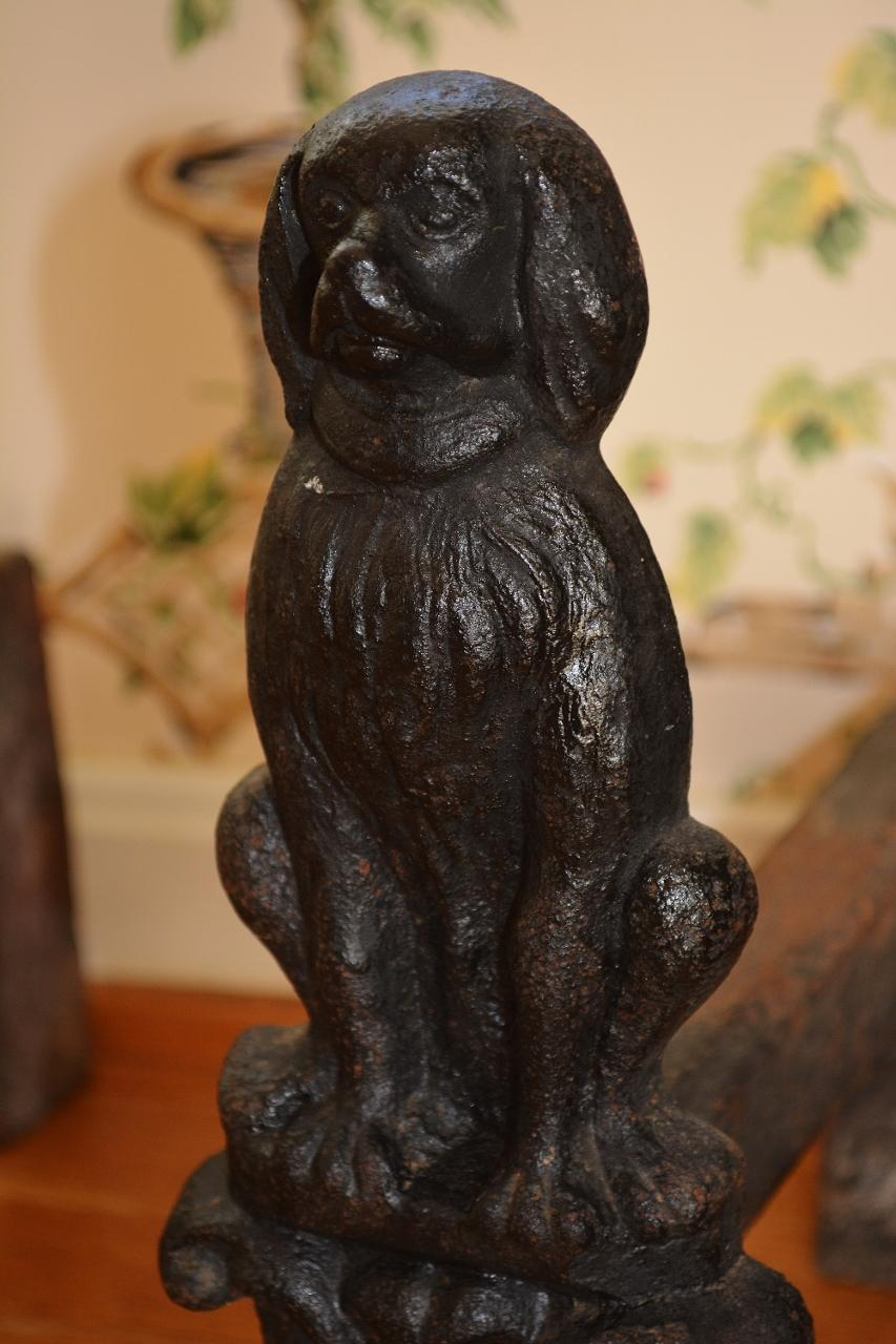 antique cast iron dog fireplace andirons cavalier king charles