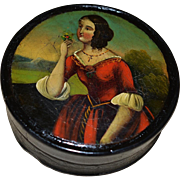 Victorian Papier Mache Snuff Box ~ Beautiful Lady