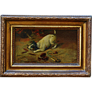 C1897 Victorian Oil Painting ~ Playful Dog