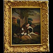 Antique Oil Painting ~ Newfoundland Dog Guarding Sleeping Child