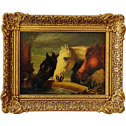 Antique 19C Oil Painting ~ Study Of Three Horses At Trough