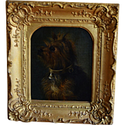 Antique French Dog Oil Painting