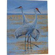 Large Oil Painting ~ Sandhill Cranes