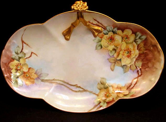 Antique Limoges Porcelain BonBon Dish Tray Split Handle Hand Painted Yellow Flowers Wild Roses Floral
