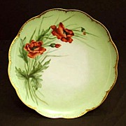 Antique Haviland Limoges Porcelain Plate Hand Painted Flowers Orange Red Poppies Floral Artist Signed
