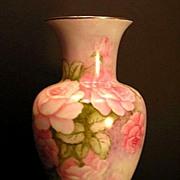Bavarian German Porcelain Vase Hand Painted Pink Roses Flowers Floral Johann Seltmann