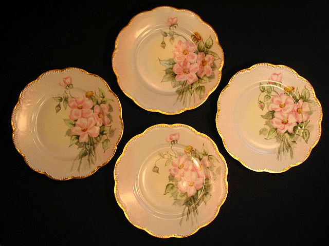 Antique Haviland Limoges Porcelain Cake Dessert Plates Hand Painted Pink Roses Wild Roses Floral Decoration