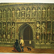 Knight Lithograph Exeter Cathedral 1860 Antique Print