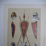 Arte Espanol 11th Century Weapons Color Lithograph 1880