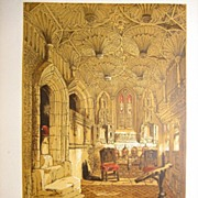 Knight Lithograph Chantry Chapel 1860 Antique Print