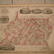 Johnson Map Virginia Delaware Maryland W. Virginia 1866