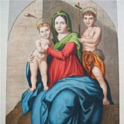 "Hand-Colored Italian Stipple Engraving Virgin Mary from ""Reminiscenze Pittoriche Di Firenze (Pictorial Reminiscences of Florence)"" Italy 1840"