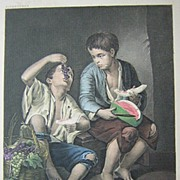 "Stipple Engraving Boys Eating Fruit Vintage Print from ""Art Treasures of Germany ..."" Boston circa 1890's"