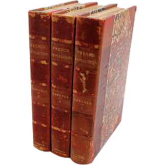 3 Volume Set 1893 French Revolution by Thomas Carlyle Hardcover with Red Leather