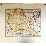 Antique Joan Blaeu Antique Map of Milan Italy 1647 17th C Copperplate Engraving