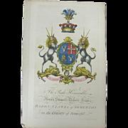 Edmondson Folio Coat of Arms Henry Stawell Bilson Legge Baron Somerton Somerfet