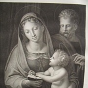 French Stipple Engraving Holy Family 1818 Antique Print