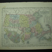 Lot of 3 DESILVER MAPS Illinois Indiana MASS & Rhode Island Dated 1856