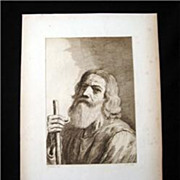 Bartolozzi Antique Stipple Engraving Bearded Man With Staff 1800