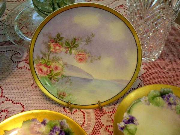 ~Haviland Limoges Plate ~ with delicate Roses overlay ~ Berton ~ ca. 1894