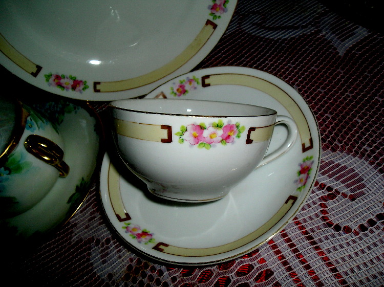 ~Nippon~ Hand Painted Cherry Blossoms & Gold Trim ~ 3pc.Cup,Saucer & Plate ~ ca. 1891
