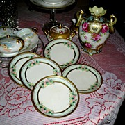 RS Germany (5) Hand Painted ~ Artist Signed & Dated ~  Plates ~ Pink Roses & Gold with Mother Of Pearl Luster Accents ca. 1918