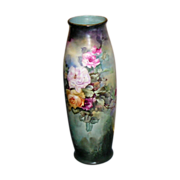 """~ Limoges Vase ~ 22"""" Tall  ~ Beauty Beyond Words ~ Hand Painted Roses ca. 1892 ~"""
