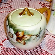 RS Germany~ Artist Signed ~ Antique Hand painted Jam Jar ?Mustard Jar~ ca. 1910~ Mint