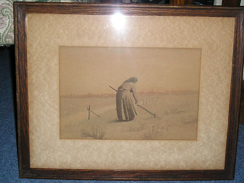 """The Gleaning "" ~Woman~ An Original Water Color~ late 1800's ~ 1900"