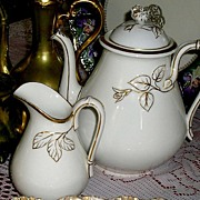 Early Haviland Limoges Coffee Pot & Creamer ~ Gold Rose Accents ~ ca. 1876-1889