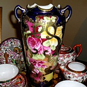 "Meiji Period Nippon Vase~10 3/4"" H ~ Gorgeous Hand Painted Ruby Red & Yellow Roses with Heavy Gold  Accents ca. 1890"