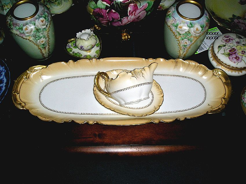 Limoges Fish Platter & Sauce Dish with Liner ~ Trimmed with Heavy Gold Coin~ ca. 1859 ~ Mint Condition