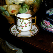 Limoges Demi Tasse Cup ~ Footed & Trimmed with Gold Coin ~ Signed ~ Elite Works ca 1891-1900
