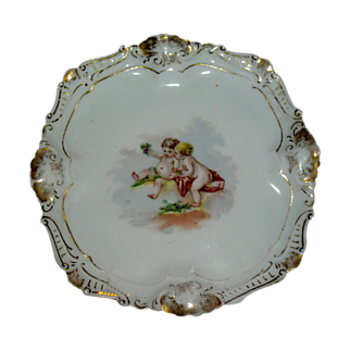 Limoges Cherub & Handpainted Gold Plate/Tray~ ca. 1891 ~ signed