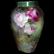 "LIMOGES Vase 14"" ~Hand Painted ROSES ~ Artist Signed ~ ca1894"