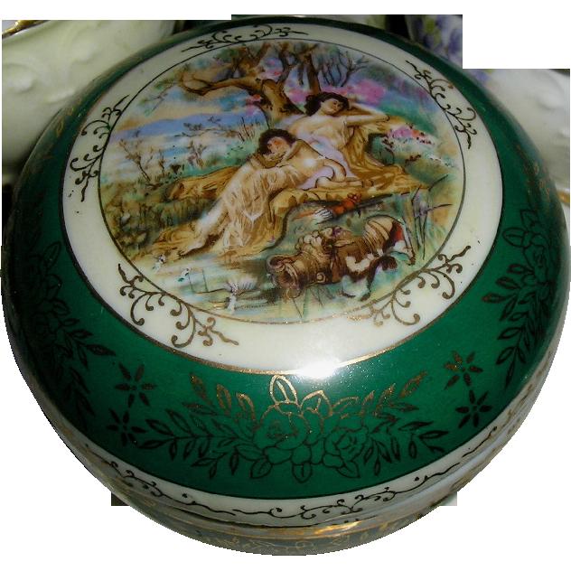 Signed ca 1899~ European Portrait Austrian/German Powder Box ~ Hand Painted/Mixon & Gilding ~
