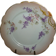 LIMOGES Plates ~(4) Beautifully detailed Lilacs/ Hand Painted Gold Coin ~ ca.1890's ~