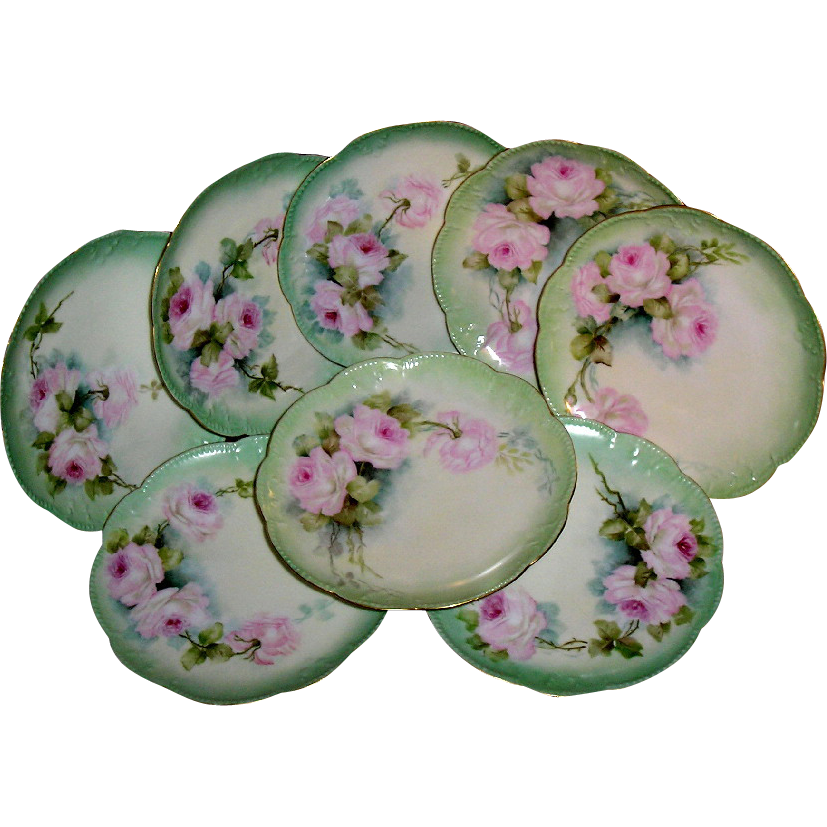 Limoges Plates (8) ~ Hand Painted Pink Roses & Each Artist Signed ~ ca.1880's ~
