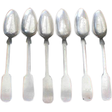 Early 19c Muttenfelder Coin Silver Tea Spoons - 6 pcs.