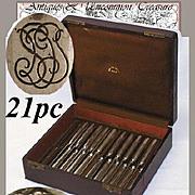 21pc SET: Boxed KELLER French Sterling Silver Luncheon, Dessert/Fruit Knife Set - Celebrated Paris Orfevre: Gustave Keller