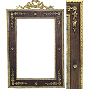 Rare Antique French Empire Ormolu & Wood Picture Frame